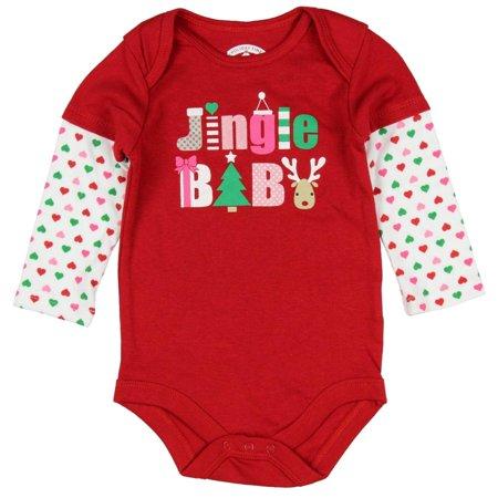 Holiday Time Infant Girl Red Jingle Baby Christmas Bodysuit