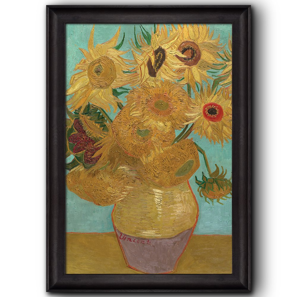 wall26 - Still Life: Vase with Twelve Sunflowers by Vincent Van Gogh - Oil Painting, Impressionist, Artist - Framed Art Prints, Home Decor - 16x24 inches