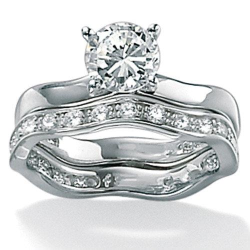 Palm Beach Jewelry Platinum/Silver Round Cubic Zirconia Wedding Ring 2 Piece Set