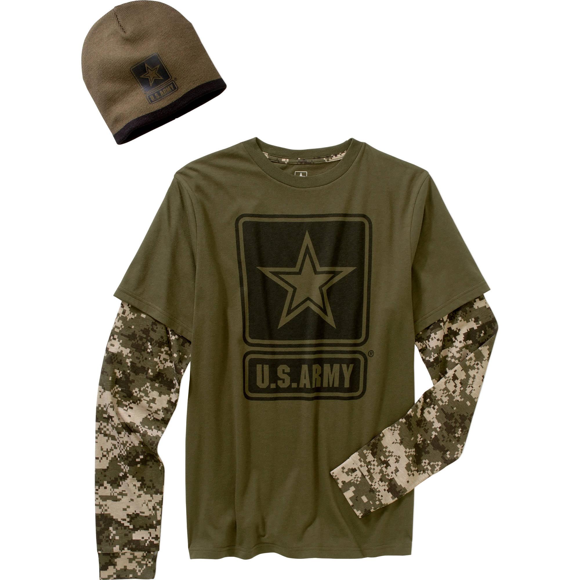 Army Big Men's Combo Shirt & Beanie, 2XL