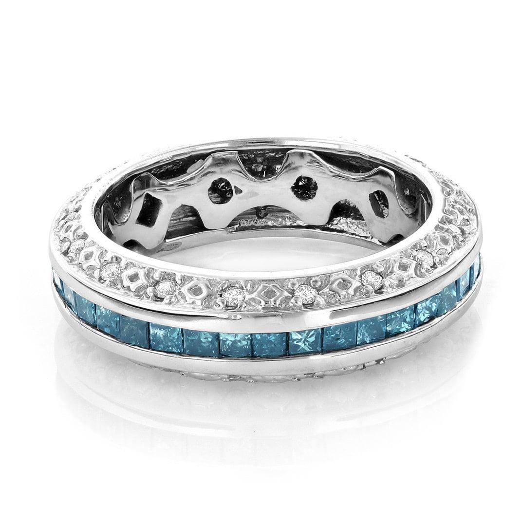 Luxurman  14k Gold 2 4/5ct TDW Blue and White Diamond Eternity Wedding Band