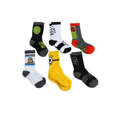 Boys Darth Vader TMNT Minions Crew Socks 6-PAIRS Shoe Size 6-8.5 (Tmnt Socks)