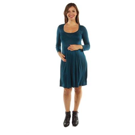 3a7a17be7f8 Women s Maternity Long Sleeve Scoop Neck Empire Waist Pleated Short Dress