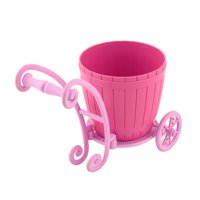 Home Plastic Cart Design Desktop Decor Flower Vase Flowerpot Plant Holder Pink