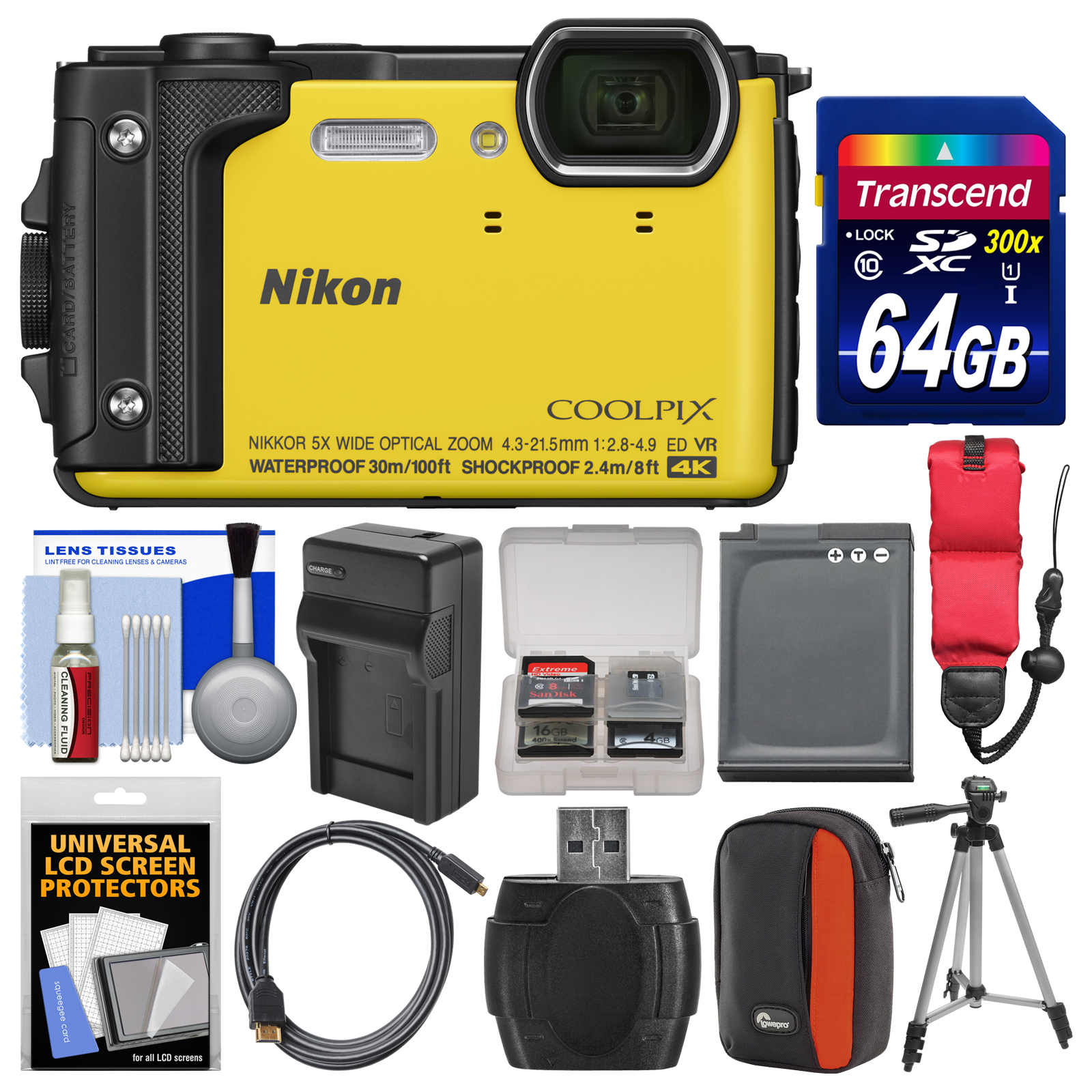 Nikon Coolpix W300 4K Wi-Fi Shock & Waterproof Digital Camera (Yellow) with 64GB Card + Case + Battery & Charger + Tripod + Float Strap + Kit