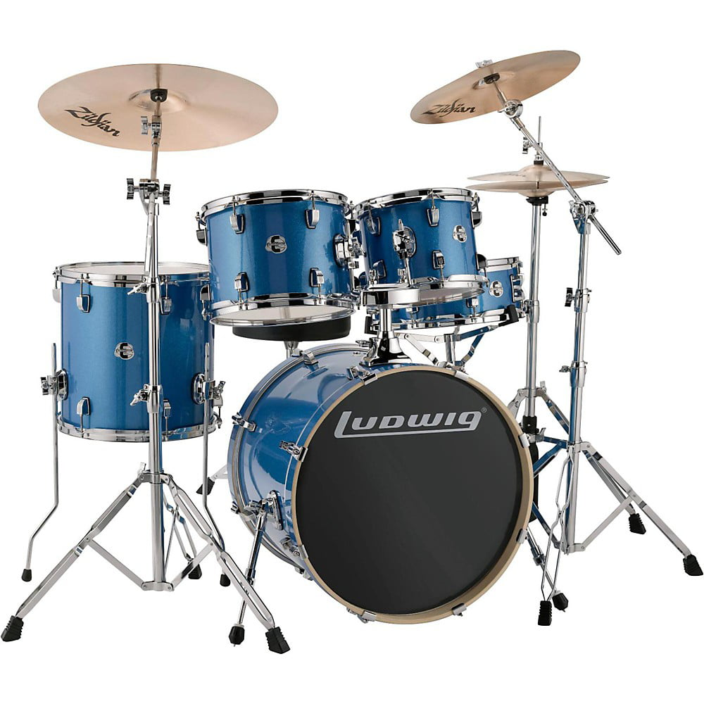 Ludwig LCEE20023 Element Evolution 5-Piece Drum Set w  Hardware & Cymbals Blue Sparkle by Ludwig