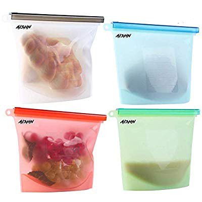 Reusable Silicone Food Bag Storage, Food Grade Safe, 4 packs for Sandwich, Liquid, Snack, Meat, Vegetable, Silicone Storage Bags Reusable