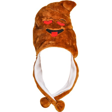 Child's Heart Eyes Poop Emoji Emoticon Pom Pom Hat Costume Accessory (Japanese Emoticons Halloween)