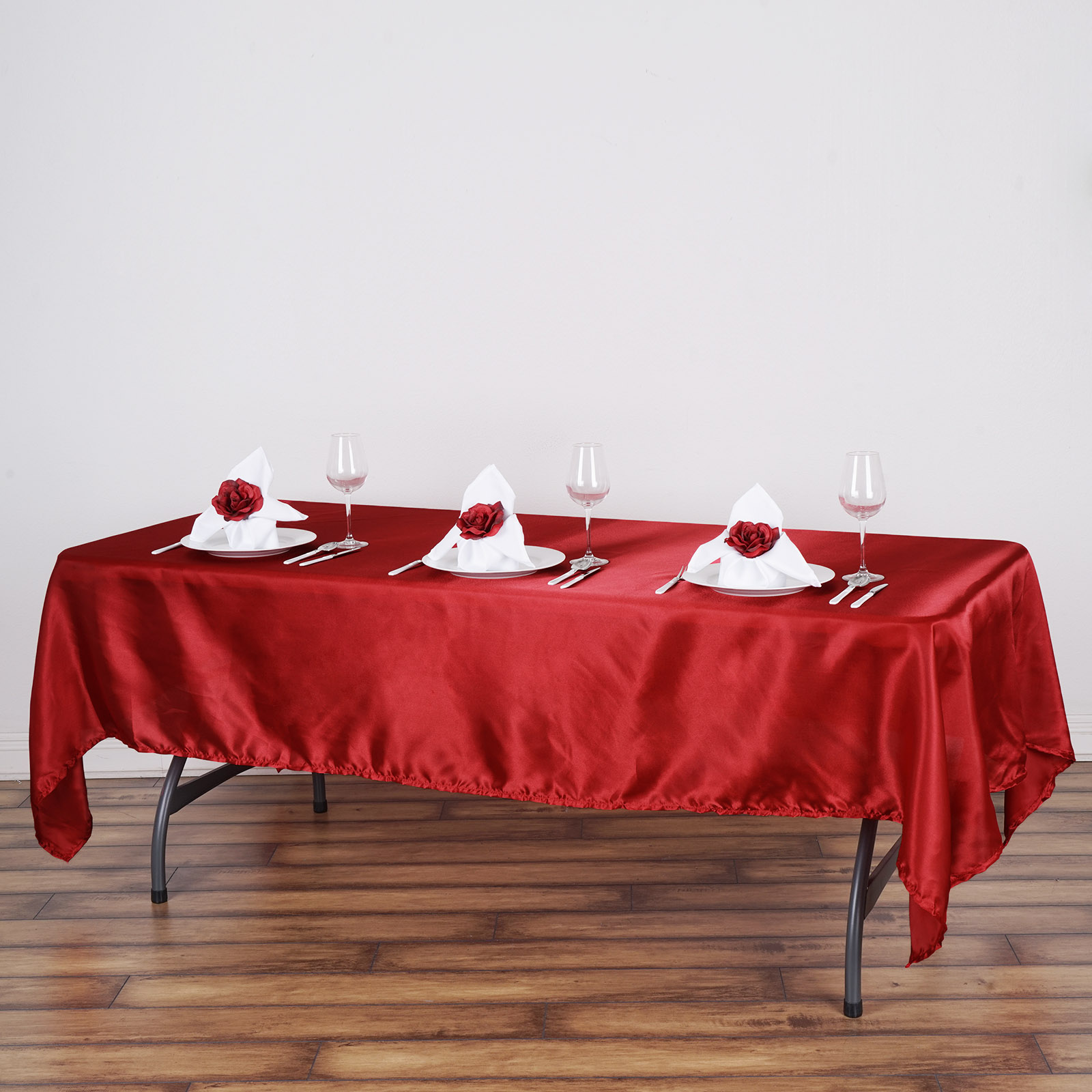 "60"" x 102"" Rectangular Satin Tablecloth Table Covers for Party Wedding Reception Catering Dining Home Table Linens"
