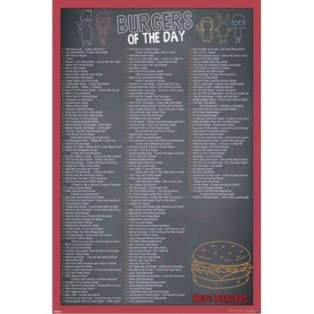 Bobs Burgers Burger Menu Tv Show Poster 24X36 Inch