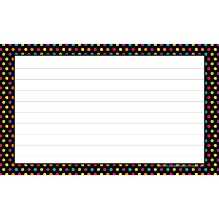 Ruled Neon Black Dots Index Cards by Top Notch Teacher - 3x5""