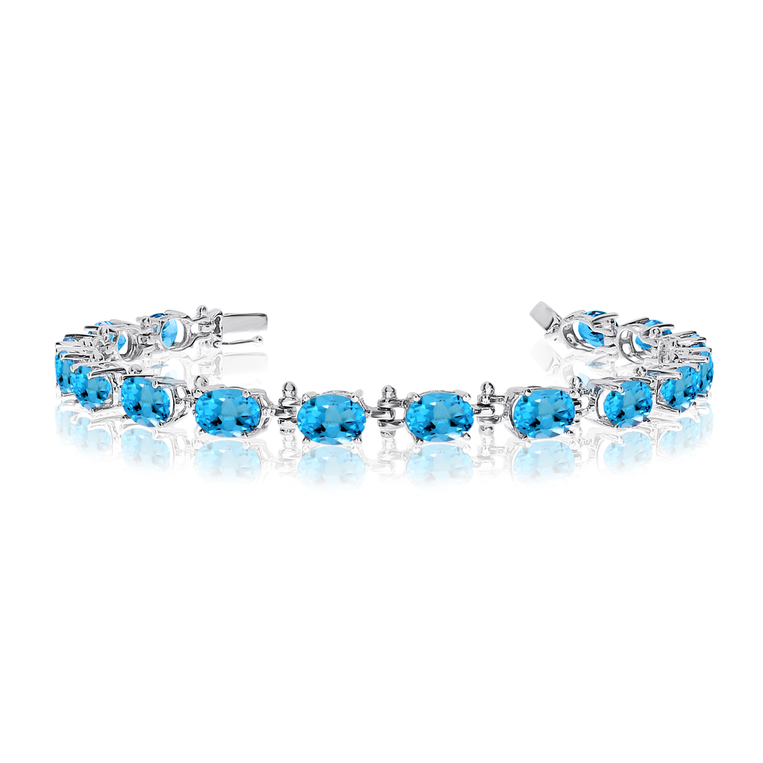 14K White Gold Oval Blue Topaz Tennis Bracelet by