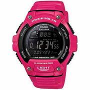 Unisex Solar Multi-Function 120-Lap Runner Watch, Pink Glossy Resin Strap