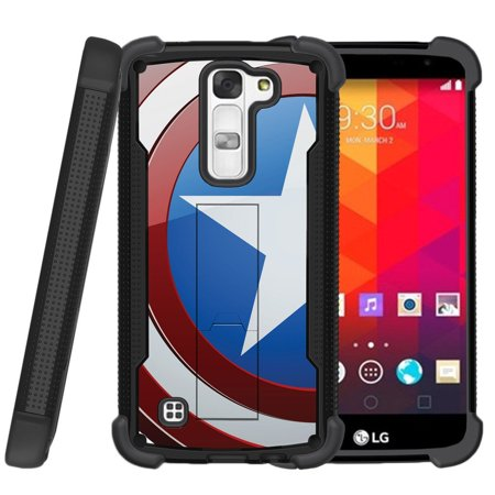 LG Stylus 2 Plus Case | Stylus 2 Plus Case [ ShockWave Armor ] Heavy Duty High Impact Case with Built-In Kickstand - America Shield Hero