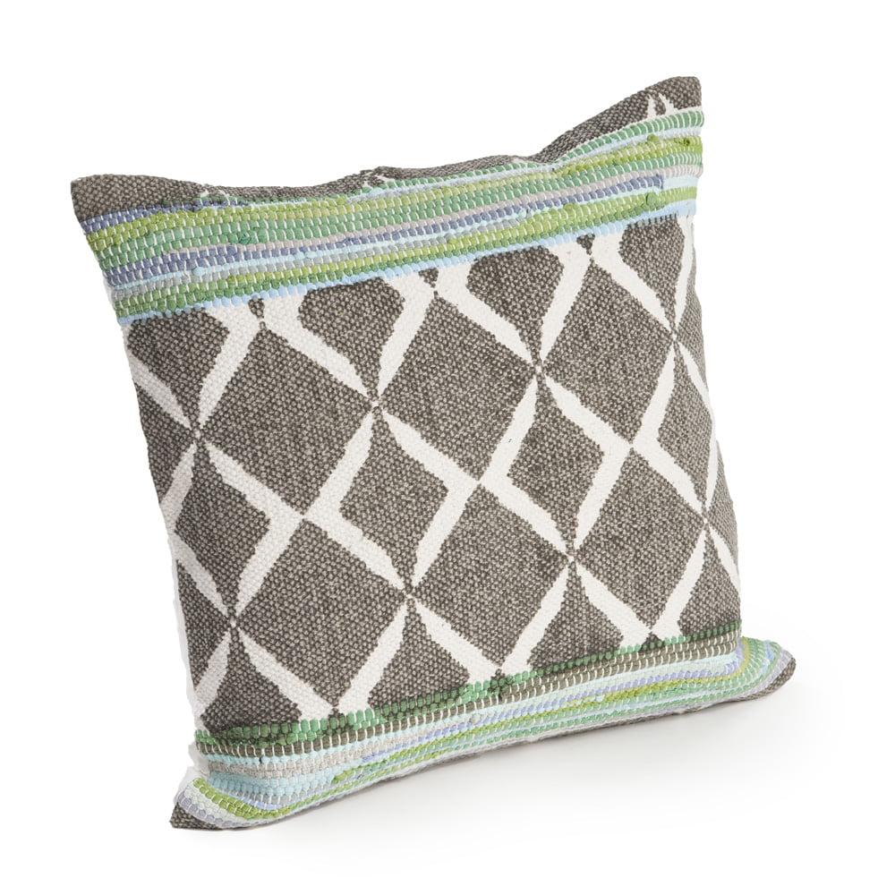 LR Home Geometric Chevron Cotton Green / Blue Decorative Throw Pillow 18 inch