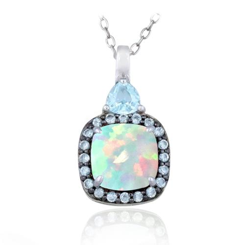 Glitzy Rocks Sterling Silver Opal and Blue Topaz Square Necklace by Overstock