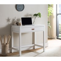 Adelaide Home & Office Workstation Computer Desk, White Wood, With Storage Drawer, Contemporary