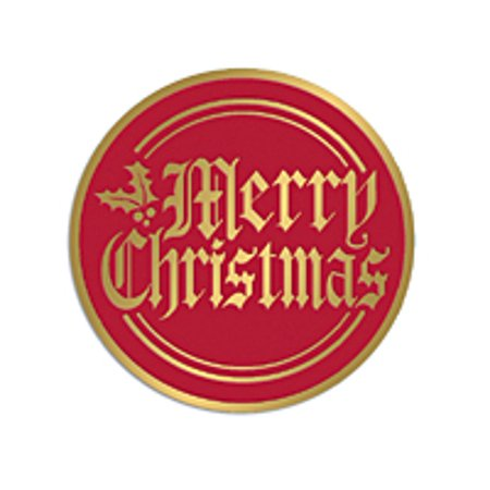 50ct red and gold merry christmas stickers envelope seals - Merry Christmas Stickers