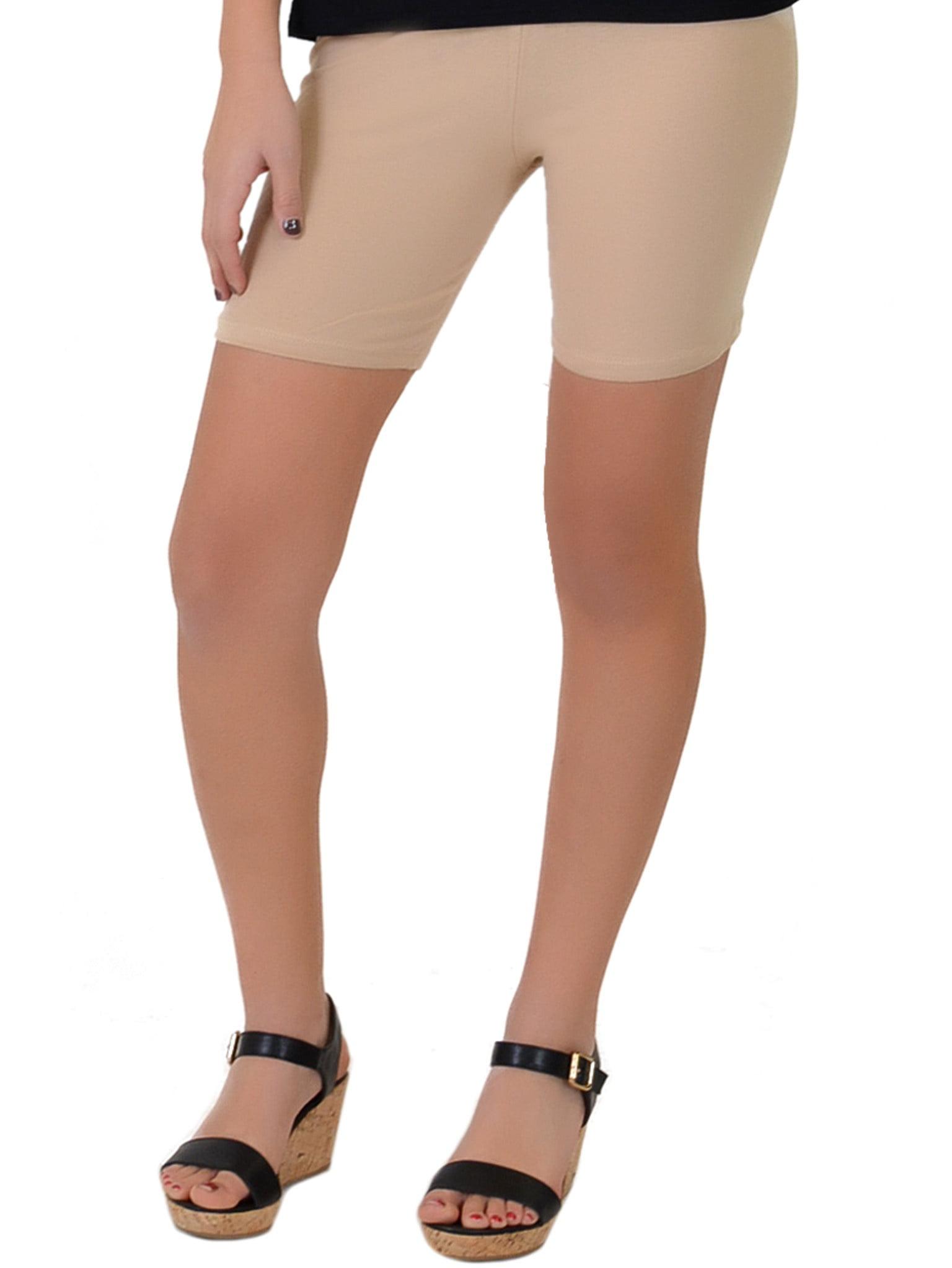 Women's Cotton Stretch Workout Bike Shorts - Large (8-10) / Beige