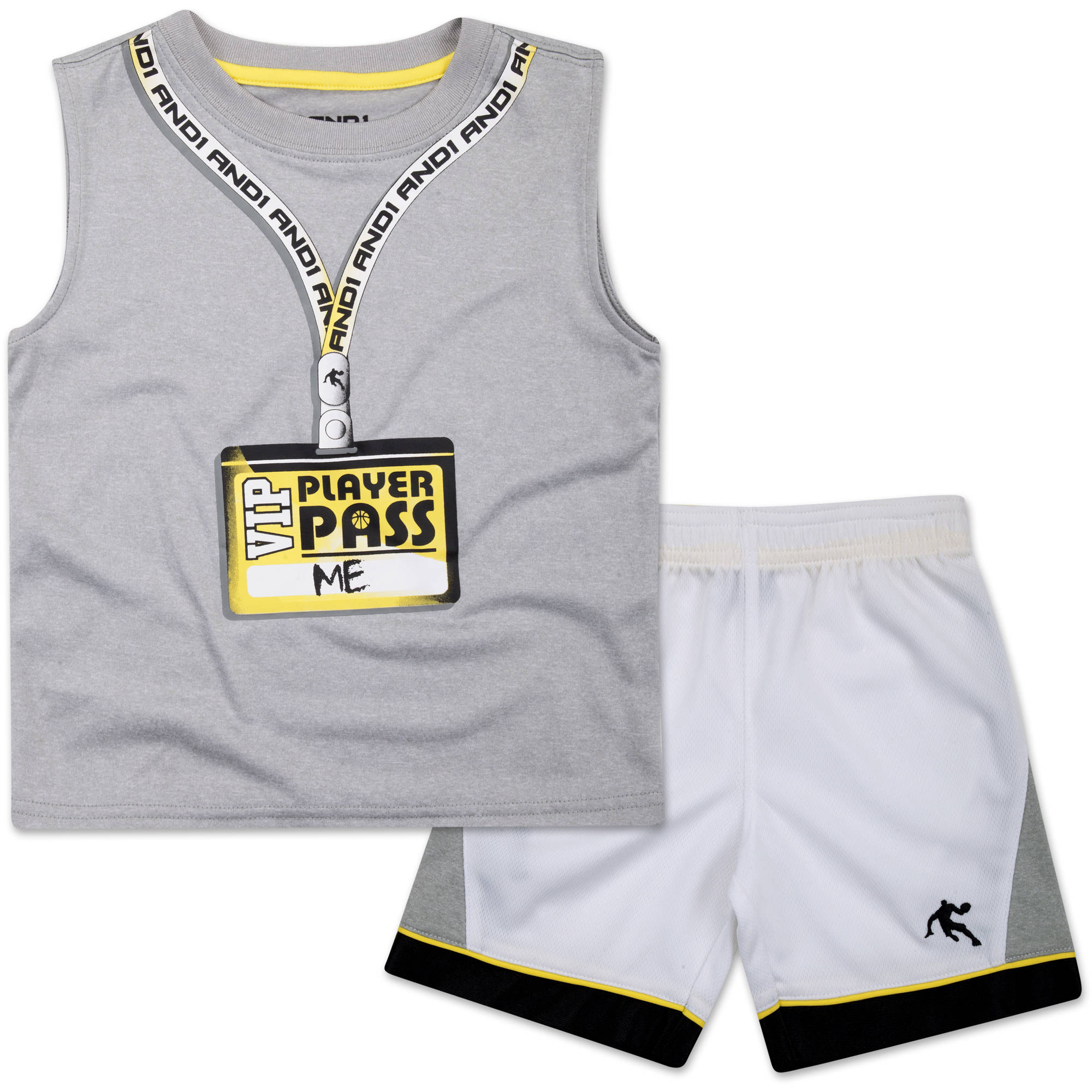 "And1 Baby Toddler Boy ""Vip Player Pass"" 2 Pc Tee & Shorts Outfit Set"