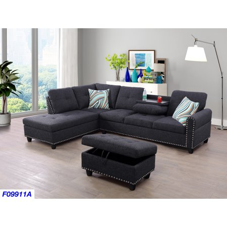 Laurice Dark Grey Linen Sectional Sofa With Ottoman