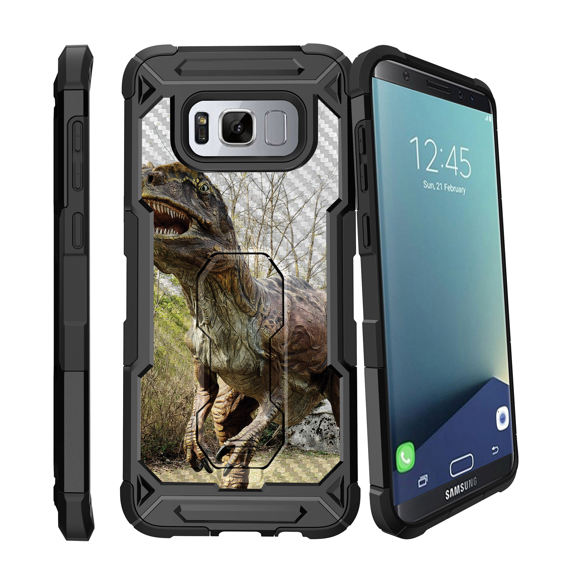 Case for Samsung Galaxy S8 Plus Version [ UFO Defense Case ][Galaxy S8 PLUS SM-G955][Black Silicone] Carbon Fiber Texture Case with Holster + Stand Dino Collection