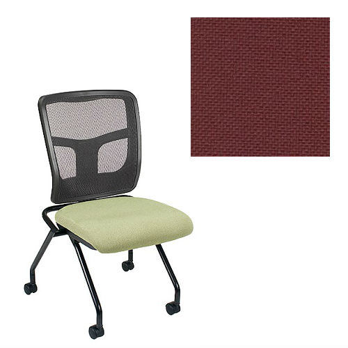 Office Master Yes Collection YS71N Ergonomic Nesting Chair - No Armrests - Black Mesh Back - Grade 1 Fabric - Basic Burgundy 1013 PLUS Free Ergonomics eBook