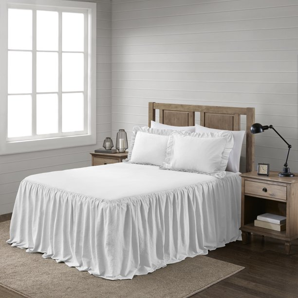 better homes and garden lelia cotton wash ruffle skirted bedspread set white king