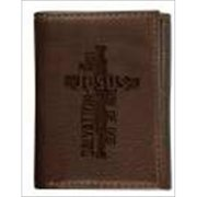 Christian Art Gifts 367347 Wallet Genuine Leather Cross Jesus Brown