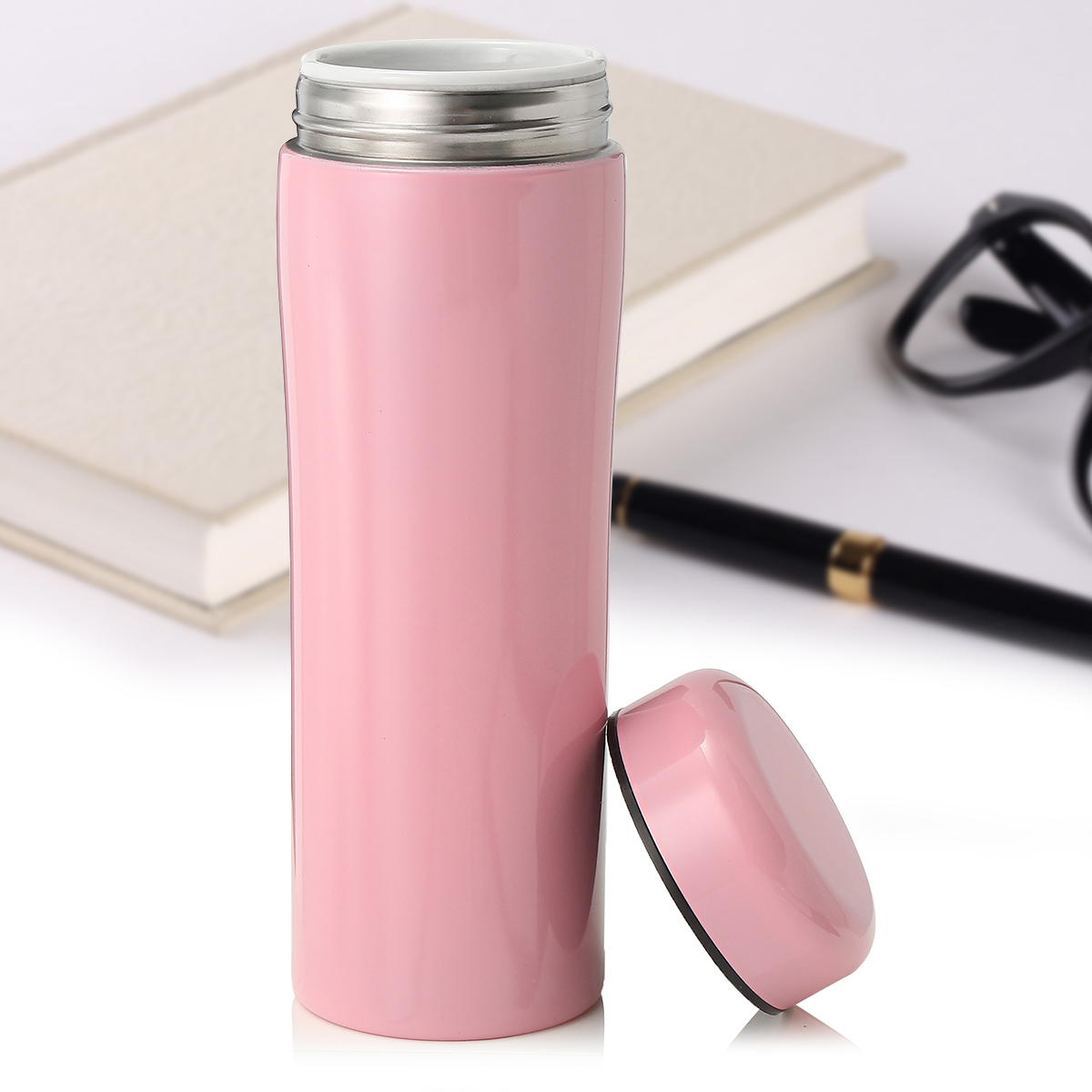 14OZ Ceramic Travel Mug Vaccum Thermo Bottle Insulated Portable Container Cup