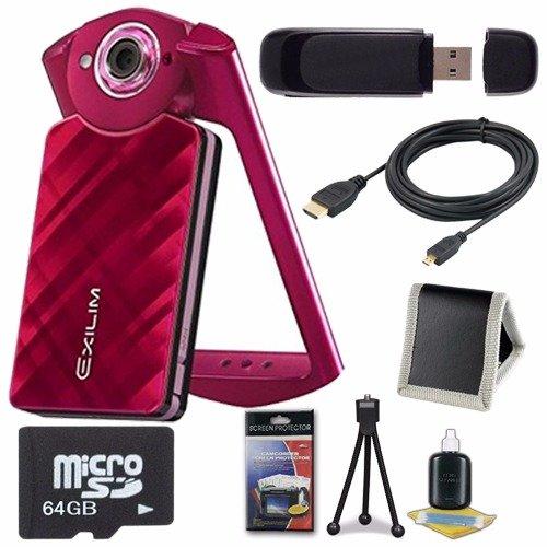 Casio EX-TR50 Self Portrait  Selfie Digital Camera (Red) + 64GB microSD Class 10 Memory Card + Micro HDMI... by 6Ave