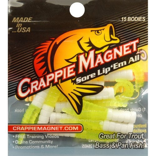 Leland's Lures Trout Magnet Crappie Magnet Lure, White/Chartreuse, Pack of 15