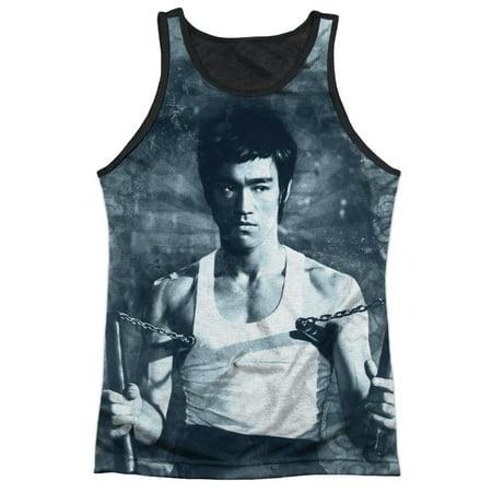 Bruce Lee Chinese Martial Arts Using Nunchucks Adult Black Back Tank Top Shirt - Nunchucks Martial Arts