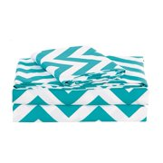 4-piece Chevron Zig Zag Patterns Sheet Set (Full, Teal), One Flat Sheet 81 inches by 96 inches + 2 inches By Chezmoi Collection Ship from US