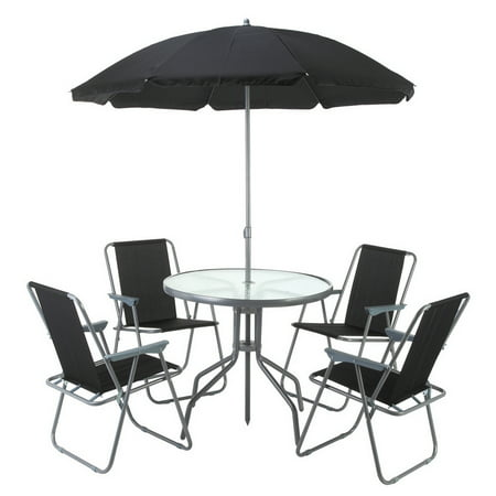 Palm springs outdoor dining set with table 4 chairs and for Garden table and chairs with umbrella
