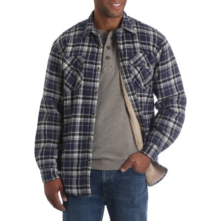 Mens Long Sleeve Sherpa Lined Flannel Shirt