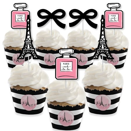 Paris, Ooh La La - Cupcake Decoration - Paris Themed Baby Shower or Birthday Party Cupcake Wrappers and Treat Picks Kit - Set of 24](Paris Birthday Decorations)
