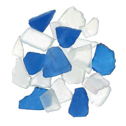 Floral Frosted Sea Glass Pacific Blue 1 Pound