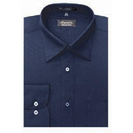 Amanti CL1014-17 1-2x36-37 Amanti Mens Wrinkle Free Navy Dress Shirt - Navy-17 1-2 x 36-37