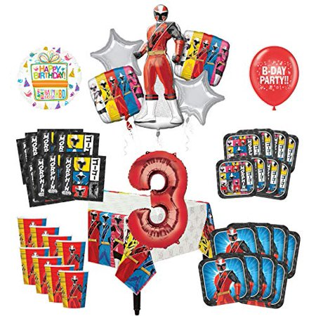 Power Ranger Decorations (Mayflower Products Power Rangers 3rd Birthday Party Supplies 8 Guest Decoration Kit and Balloon)