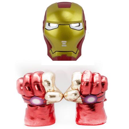 LED Light Superhero Mask + Plush Smash Gloves Combo (Iron Man)