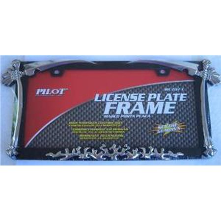 Chrome w/ Swords and Bones License Frame.  Free Screw Caps Included - image 1 of 2