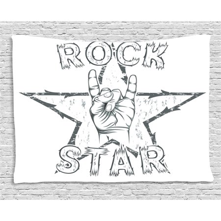 Rock Star Themed Classroom (Popstar Party Tapestry, Rock Star Theme High Sign and Star Figure Grungy Sketch Gesture Vintage, Wall Hanging for Bedroom Living Room Dorm Decor, 60W X 40L Inches, Black and White,)
