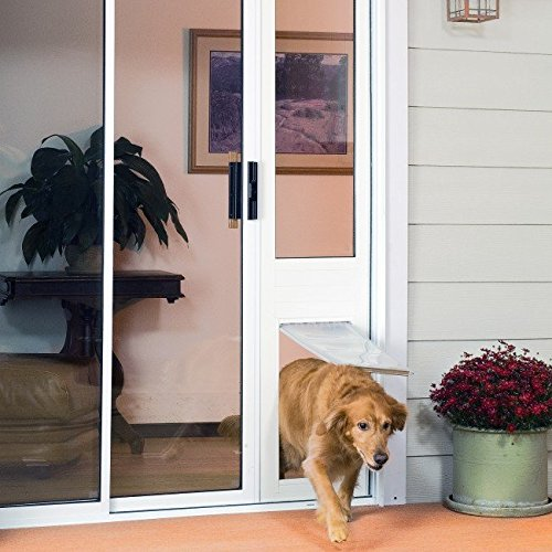 Patio Pacific Thermo Panel 3e for sliding glass doors with Endura Flap pet door - Medium flap, height: 74.75-77.75, White frame
