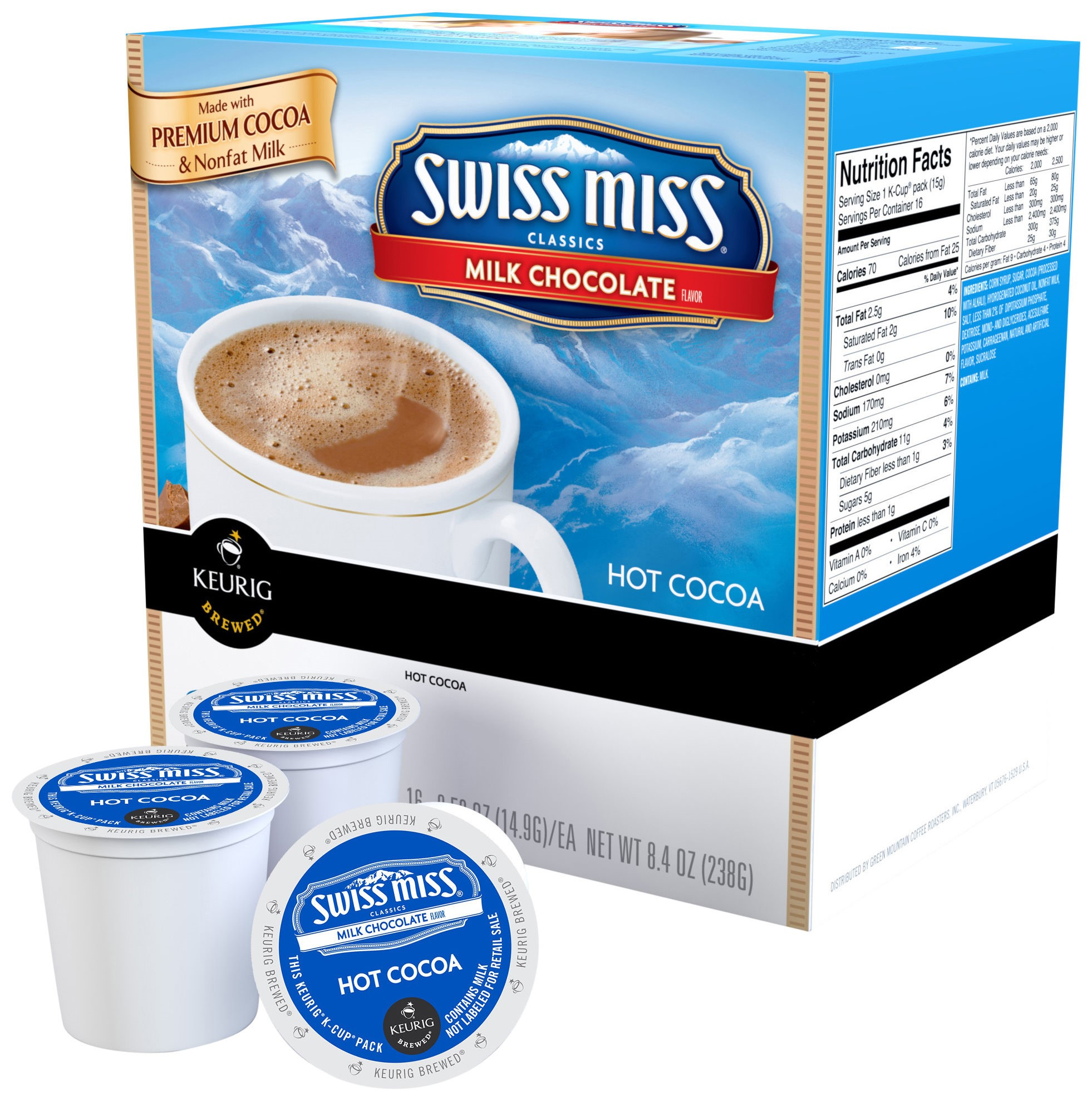 Swiss Miss Single Serve Coffee for Keurig, Milk Hot Cocoa, 3 Ct