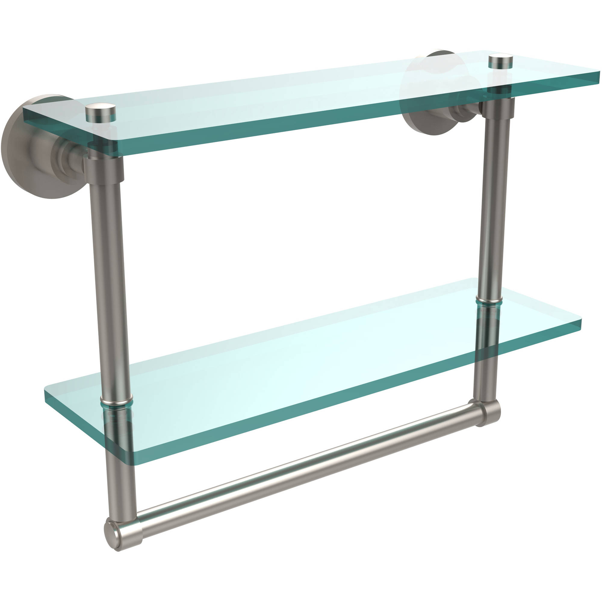 "Washing Square Collection 16"" 2-Tiered Glass Shelf with Integrated Towel Bar (Build to Order)"