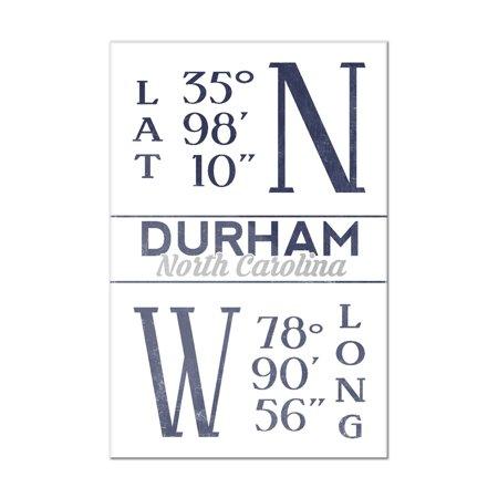 Durham, North Carolina - Latitude & Longitude (Blue) - Lantern Press Artwork (8x12 Acrylic Wall Art Gallery (Acrylic Artwork)
