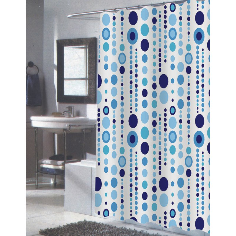 Carnation Home Fashions Mia Extra Long Blue and White Fabric Shower Curtain