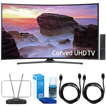 Samsung Un65mu6500 Curved 65   4K Ultra Hd Smart Led Tv  2017 Model  W  Tv Cut The Cord Bundle Includes  2X 6Ft  High Speed Hdmi Cable  Durable Hdtv   Fm Antenna    Screen Cleaner Led Tvs