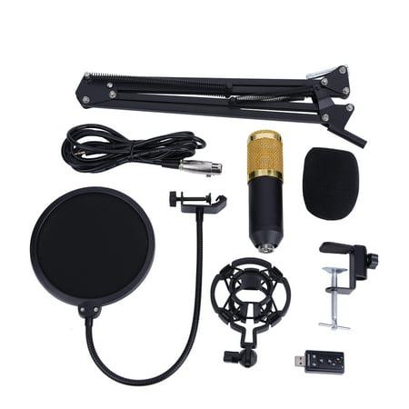 Lv. life BM800 Condenser Microphone, Studio Condenser Microphone,BM800 Studio Condenser Microphone Arm Stand Pop Filter Foam Cap Kit Record Accessory (001 Mic Kit)
